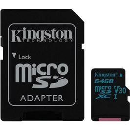 Kingston Canvas Go! MicroSDXC 64GB UHS-I U3 + SD adaptér