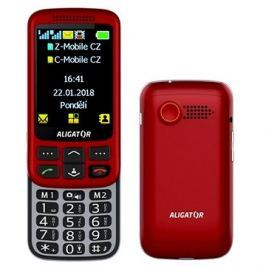 Aligator VS900 Senior červená/stříbrná + stolní nabíječka