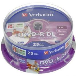 Verbatim DVD+R 8x Dual Layer Printable 25ks cakebox
