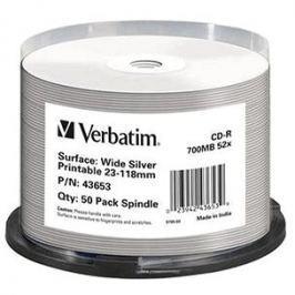 VERBATIM CD-R 80 52x PRINT. Wide Silver Inkjet spindl 50pck/BAL