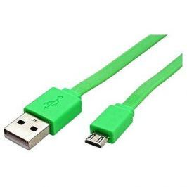 ROLINE USB 2.0 - USB A(M) -> micro USB B(M), 1m, plochý, zelený