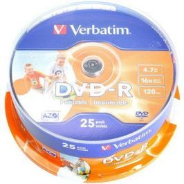 Verbatim DVD-R 16x, Printable 25ks cakebox