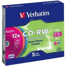 Verbatim CD-RW 8x COLOURS 5ks v SLIM krabičce