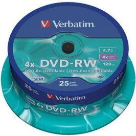 Verbatim DVD-RW 4x, 25ks cakebox