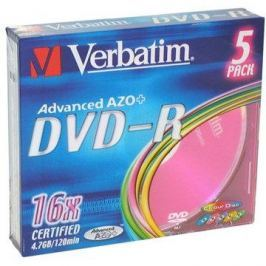 Verbatim DVD-R 16x, COLOURS 5ks v SLIM krabičce DVD-R