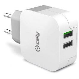CELLY TURBO travel charger 2 x USB white