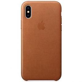 iPhone X Kožený kryt sedlově hnědý
