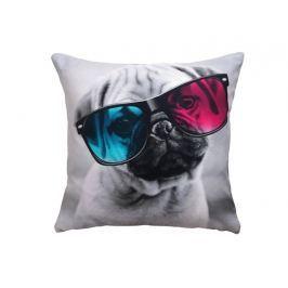 Dekorační polštářek Mops s brýlemi 40x40
