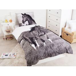 Detexpol povlečení bavlna 3D fototisk Černobílý kůň 140x200 70x80