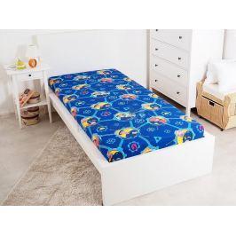 Bavlněné licenční prostěradlo s gumou Požárník Sam modrá 90x200 cm