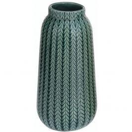 Porcelánová váza Knit tmavě zelená, 24,5 cm