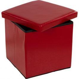 STILISTA 2495 Taburet s úložným prostorem tmavě červený