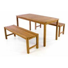 Divero 40819 Zahradní set lavic a stolu -  ošetřené týkové dřevo - 150 cm