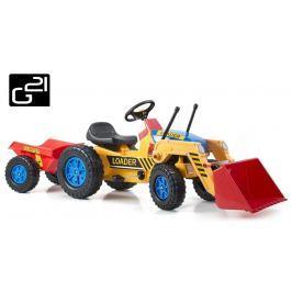 G21 Classic 51901 Šlapací traktor s nakladačem a vlečkou žluto/modrý