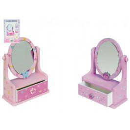 Zrcadlo šperkovnice zásuvka dřevo 16,2x24,2x8,5cm asst 3 barvy v krabici Hračky pro holky
