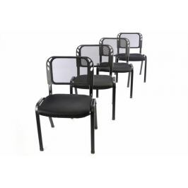 Garthen 41034 Sada 4 stohovatelných kongresových židlí - černá Kancelářská křesla