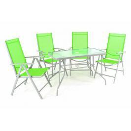Garthen 40990 Zahradní skládací set stůl + 4 stohovatelné židle - zelená
