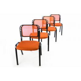 Garthen 40800 Sada 4 stohovatelných kongresových židlí - oranžová