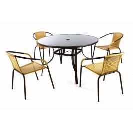 Garthen Bistro 36493 Zahradní polyratanový set se skleněným stolem - béžová