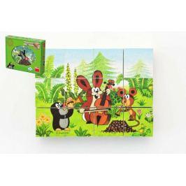 Kostky kubus Krtek a přátelé dřevo 12ks v krabičce 22x17x4cm