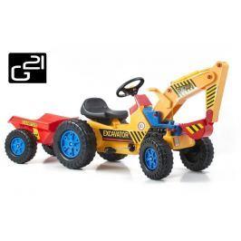 G21 Classic 51902 Šlapací traktor s bagrem a vlečkou žluto/modrý