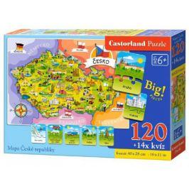 Mapa České republiky Puzzle 120 dílků + 1kvízů naučné v krabici Puzzle