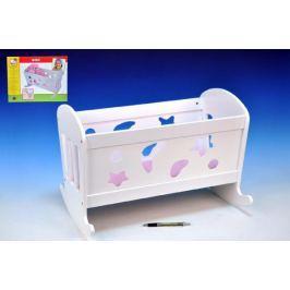 Kolébka pro panenky dřevo 50x36cm +peřinka+polštářek+podložka v krabici Domečky pro panenky