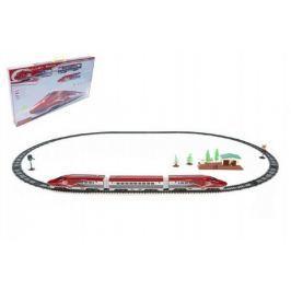 Vlak Bullet Train + dráha 1,63m s doplňky na baterie se zvukem se světlem v krabici 70x37x7cm