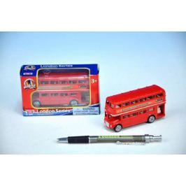 Teddies Autobus Londýn kov 10cm červený patrový v krabičce