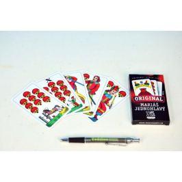 Mariáš jednohlavý společenská hra karty v papírové krabičce 6x11cm Stolní hry