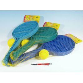 Soft tenis plast barevný+míček v síťce