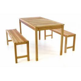 Divero 47272 Zahradní set lavic a stolu - neošetřené týkové dřevo - 135 cm Zahradní sestavy