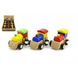 Mašinka na klíček dřevo 7cm asst 3 barvy 9ks v boxu Interaktivní Hračky