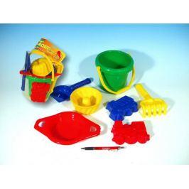 Kbelík sítko lopatka hrabičky 3 bábovky plast v síťce 20x28x12cm 12m+ Pískoviště