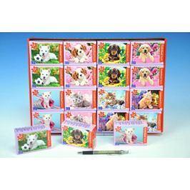 A-08521-Z Minipuzzle zvířátka 54 dílků asst 8 druhů v krabičce 9x6x3cm 32ks v boxu