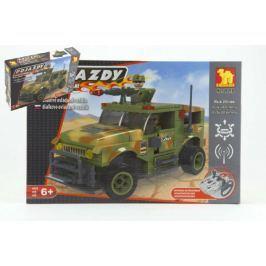 Stavebnice Dromader Vojáci Auto RC 20218 na vysílačku na baterie 284ks v krabici 37x24x7cm