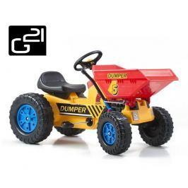 G21 Classic 51898 Šlapací traktor s čelním nosičem žluto/modrý