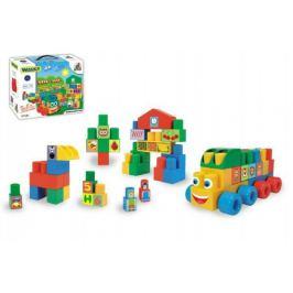 Kostky stavebnice Middle Blocks plast 33ks v krabici 30x25x12cm Wader Ostatní stavebnice