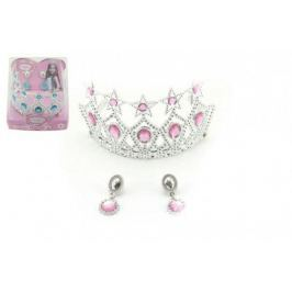 Sada princezna korunka + náušnice plast asst 2 barvy v krabičce 14x12x14cm karneval