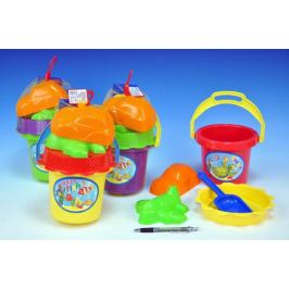 Teddies Sada na písek kbelík sítko lopatka 2 bábovky plast asst 4 barvy