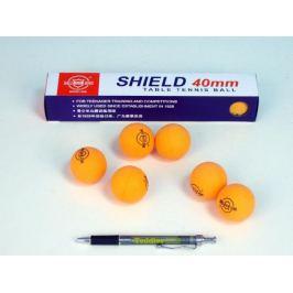 SHIELD Míčky na stolní tenis bezešvé oranžové 6ks v krabičce