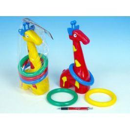 Teddies 47859 Žirafa plast 33cm s kroužky asst 3 barvy v sáčku 18m+