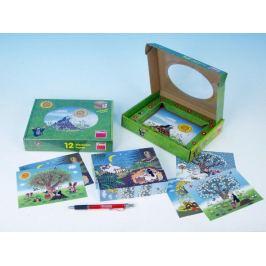 Krtek/Krtečkův rok Kostky kubus dřevo 12ks v krabičce 22x17x4cm