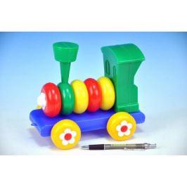 Lokomotiva/Vlak skládací tahací plast 20cm 24m+