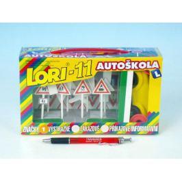 LORI 11 Stavebnice Autoškola Dopravní značky 16ks+2 kužely+auto plast v krabici 22x13x6cm