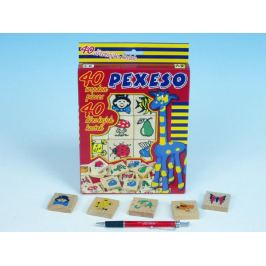 Pexeso dřevo společenská hra v krabici 17x25x2cm