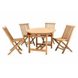 DIVERO 2296 Zahradní nábytek z týkového dřeva - 1x stůl, 4x židle