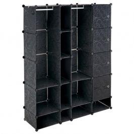 Úsporný zásuvný plastový regál - 161 x 127 x 37 cm, černý