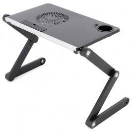 Notebookový stolek s USB větrákem - stříbrnočerný