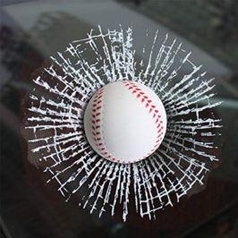 3D Samolepka - rozbité sklo - Baseballový míček
